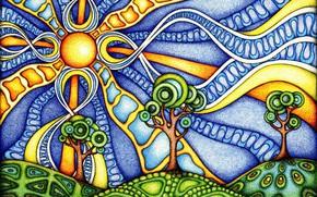 Обои небо, солнце, рисунок, цвета, напыление, солнечный день, линии, деревья, картинка, абстракция, переплетения