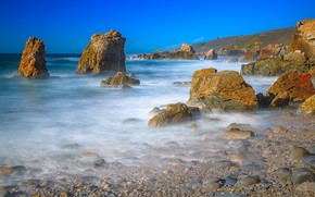 Картинка море, камни, берег, Калифорния, США, Монтерей
