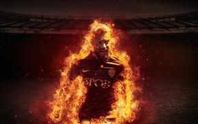 Картинка wallpaper, sport, fire, stadium, football, player, AS Roma, Daniele De Rossi, Stadio Olimpico