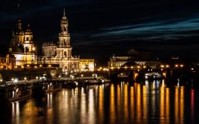 Картинка ночь, огни, река, Германия, Дрезден