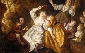 Обои Якоб ван Лоо, мифология, масло, картина, холст, Амариллис Коронует Миртилло