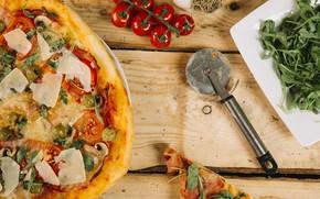 Картинка Зелень, помидоры, Пицца