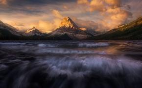 Картинка облака, горы, река
