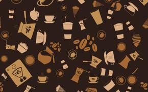 Обои pattern, вектор, фон, vector, кофе, coffee, текстура, background, seamless