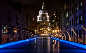 Картинка ночь, огни, Англия, Лондон, Собор Святого Павла, Мост Миллениум, Мост Тысячелетия