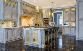 Обои дизайн, кухня, интерьер, мебель