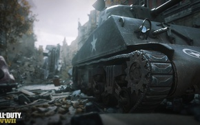 Картинка Call of Duty, Tank, Building, World War 2, WW2, Tracks, Ruins, COD 2017, Foreground
