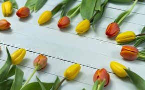 Картинка цветы, тюльпаны, yellow, wood, tulips, orange, decorative
