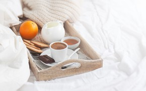 Картинка шоколад, завтрак, молоко, печенье, мёд, поднос, кофе в постель, Valeria Aksakova