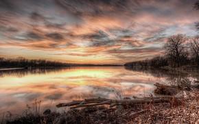 Картинка Закат, Отражение, Озеро