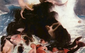 Картинка русалки, 1886, Арнольд Бёклин, Игры наяд