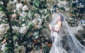 Картинка цветы, стиль, модель, азиатка, невеста, фата, свадебное платье
