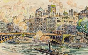 Картинка город, рисунок, акварель, Поль Синьяк, Мост Фёйе в Лионе