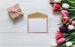 Картинка цветы, подарок, букет, colorful, тюльпаны, wood, pink, flowers, romantic, tulips, gift, spring