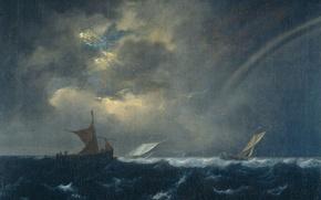 Обои масло, картина, холст, морской пейзаж, Якоб ван Рёйсдал, Корабли в Бурном Море