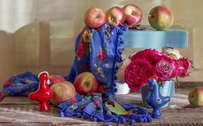 Картинка яблоки, платок, композиция