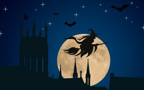 Картинка vector, Halloween, moon, hat, night, stars, bats, silhouette, witch, church, spooky, vector art, spiers, holyday, …