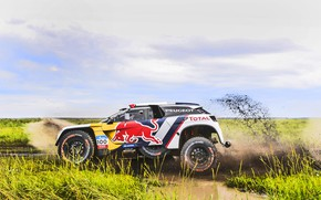 Картинка Спорт, Скорость, Гонка, Грязь, Peugeot, Фары, Red Bull, Rally, Ралли, Sport, Тотал, DKR, 3008, Шёлковый …