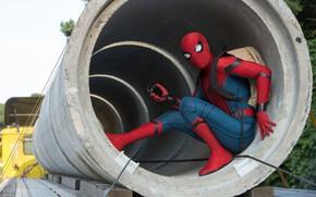 Картинка фантастика, кадр, костюм, рюкзак, Marvel, комикс, Spider-Man, Peter Parker, Tom Holland, Том Холланд, Spider-Man: Homecoming, …