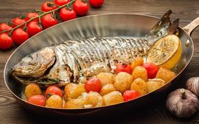 Картинка лимон, рыба, помидоры, картофель