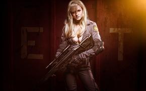 Картинка girl, gun, weapon, woman, big, sniper, Metal Gear Solid, cosplay, blonde, rifle, oppai, Foxhound, uniform, …