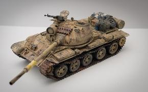 Картинка макро, игрушка, средний танк, моделька, Иракский Т-62