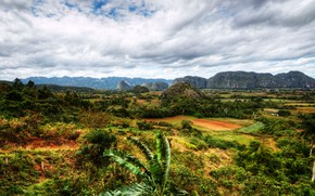 Картинка облака, деревья, горы, поля, HDR, Куба