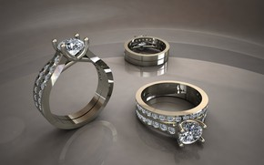 Картинка отражения, бриллианты, серый фон, перстни, белое золото, блеск металла, мерцание драгоценных камней