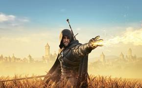 Обои город, The Witcher 3: Wild Hunt, Геральд, Ведьмак, поле, Ведьмак 3 Дикая Охота, пламя