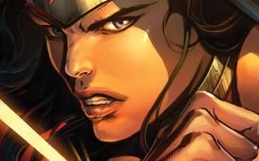 Обои Anger, Face, Злость, Wonder Woman, Диана, Лицо, Look, Герой, Lasso, Лассо Истины, Тиара, Чудо-Женщина, Tiara, ...