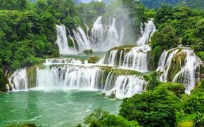 Картинка Природа, Водопад, Деревья, Китай