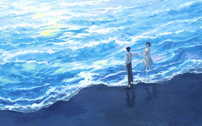 Картинка море, девушка, парень