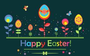 Картинка цветы, фон, яйца, пасха, крашенки