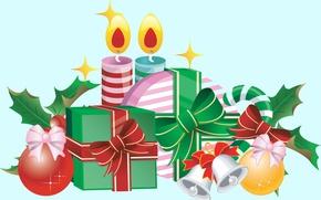Обои Новый год, арт, праздник, свечи, подарки, вектор