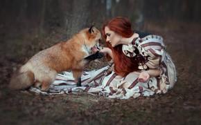 Обои платье, девушка, рыжая, рыжеволосая, лиса, лес