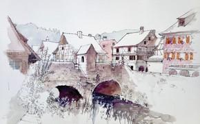 Картинка мост, город, рисунок, Франция, дома, акварель, Кайзерсберг