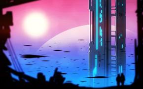 Картинка city, fantasy, sunset, science fiction, people, sci-fi, digital art, buildings, artwork, skyscrapers, fantasy art, cityscape, …