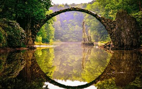 Картинка green, forest, river, trees, landscape, Bridge, nature, water, flowers, rocks, reflection