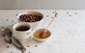 Картинка шарики, кофе, завтрак, мед, ложки