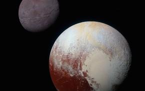 Картинка Плутон, фоне, New Horizons, спутника Харона