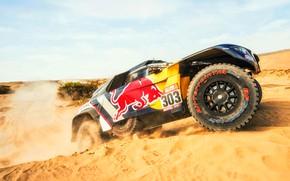 Картинка Песок, Авто, Машина, Peugeot, Фары, Red Bull, Rally, Dakar, Дакар, Внедорожник, Ралли, Sport, Передок, Бездорожье, …