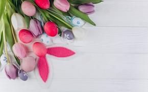 Картинка цветы, яйца, Весна, пасха, Белый фон, тюльпаны, Праздник, ушки