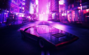 Обои Город, Неон, Машина, Фон, Alfa Romeo, Synthpop, Darkwave, Synth, Retrowave, Carabo, Synthwave, Synth pop, Alfa ...