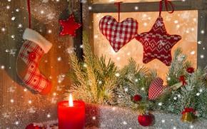 Картинка фон, праздник, рождество, свеча, ель, Новый год, украшение