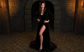 Обои девушка, нога, чёрное платье, взгляд