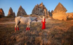 Картинка девушка, настроение, скалы, лошадь, красное платье