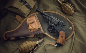 Картинка граната, револьвер, weapon, наган, revolver, Nagant, оужие