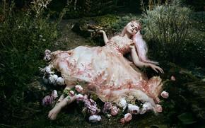 Обои платье, сон, Jodi Lakin, настроение, девушка, спящая, Bella Kotak, стиль, поза, цветы