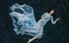 Картинка девушка, цветы, настроение, сон, ситуация, платье, колокольчики, спящая красавица, Kerry Ann, Adam Bird, The Bluebell …