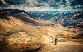 Картинка солнце, облака, горы, человек, вид, ущелье, Перу